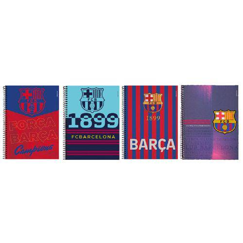 Kit 4 Cadernos Espiral Barcelona 96 Folhas