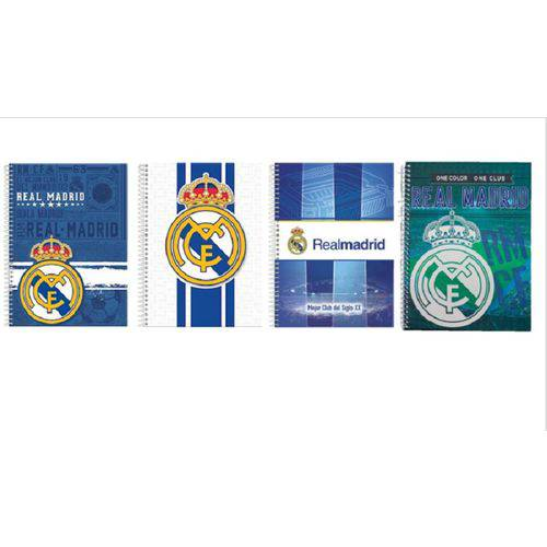 Kit 4 Cadernos Espiral Real Madrid 96 Folhas