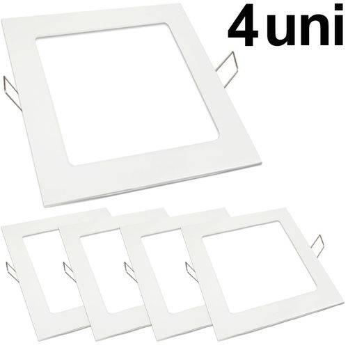 Kit 4 Luminária Plafon Led 18w Embutir Quadrado Branco Frio