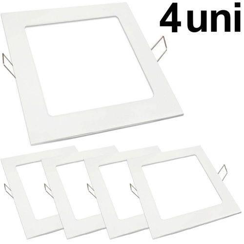Kit 4 Luminária Plafon Led 25w Embutir Quadrado Branco Frio