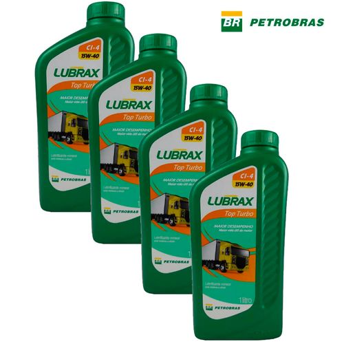 Kit 4 Óleos para Motor Lubrax CI-4 15W40 Top Turbo