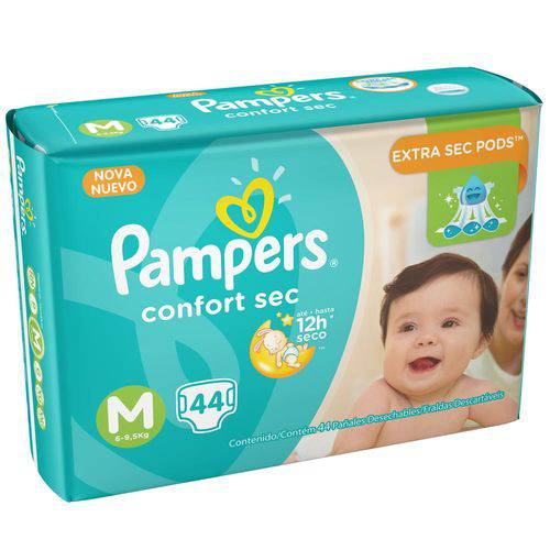 Kit 4 Pcts Pampers Confortsec - Tam. M - 176 Unds