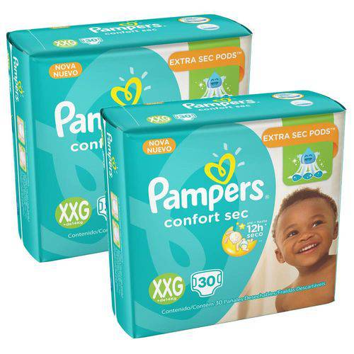 Kit 4 Pcts Pampers Confortsec - Tam. Xxg - 120 Unds