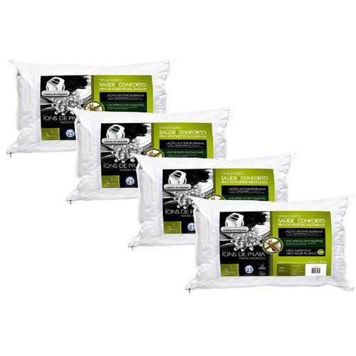 Kit 4 Peças Travesseiro Íons de Prata Fibra Integralmente Lavável para Fronhas 50x70 Cm