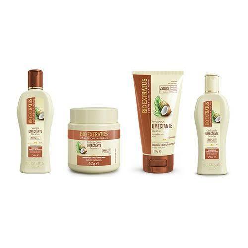 Kit 4 Produtos Umectante Óleo de Coco Bio Extratus Shampoo e Condicionador 250 Ml , Banho de Creme 250g, Finalizador 150g
