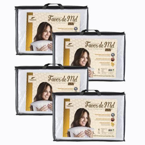 Kit 4 Travesseiros Alto Favos de Mel Lavável para Dormir 50x70cm Fibrasca 4945