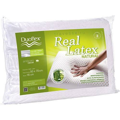 Travesseiro Duoflex Real Latex LS1100+Capa Imperm