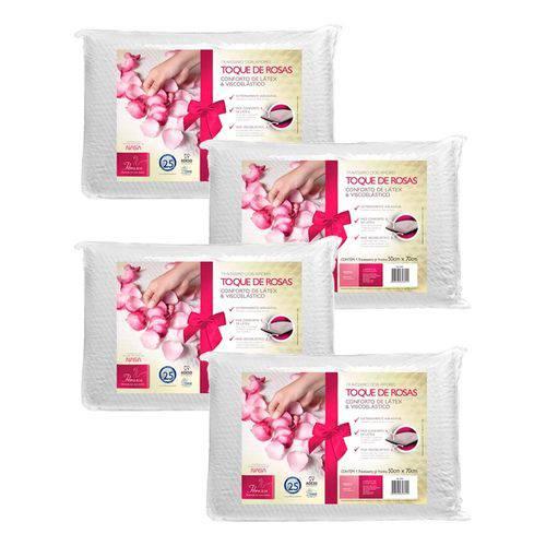 Kit 4 Travesseiros Viscoelástico e Látex Toque de Rosas Dois Amores Fibrasca 4845