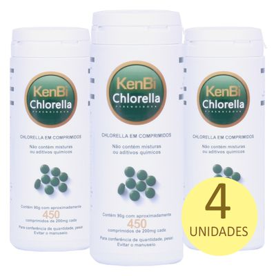Kit 4x Chlorella Kenbi 100% Pura 450 Comprimidos