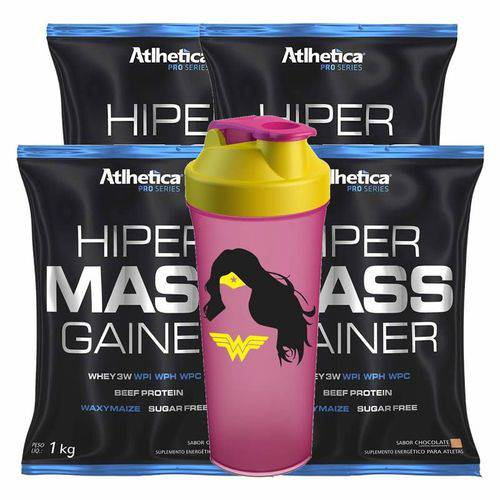 Kit 4x Hipercalórico Mass Gainer Pro Series Chocolate 4kg + Coqueteleira Atlhetica Nutrition