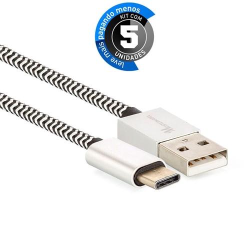 Kit 5 Cabo Cabo USB C para USB Revestido com Tecido - Preto - 1m