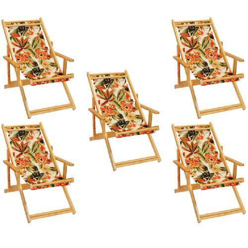 Kit 5 Cadeira Espreguiçadeira Preguiçosa Dobravel Madeira Maciça - Floral Tucano