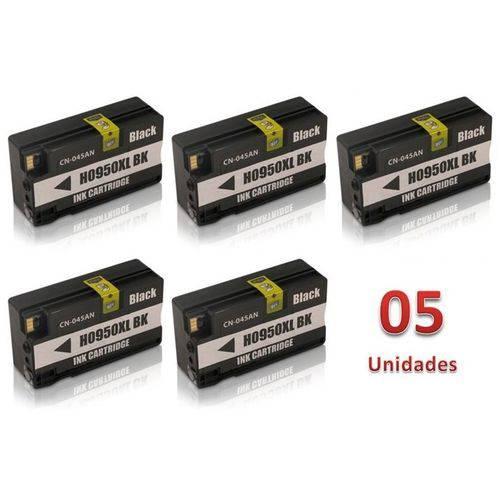 Kit 5 Cartuchos de Tinta Similares Hp 950XL Preto CN045AL Compativel HP 8100 8600 8610 8615 8620 8625 8630 8650 8660 251dw 276dw