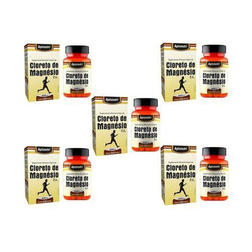 Kit 5 Cloreto de Magnésio P.A - Apisnutri - 60 Cápsulas Cada