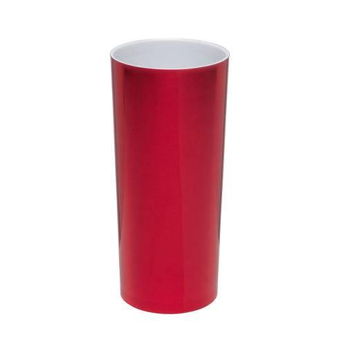 KIT 25 Copos Long Drink Metalizado Vermelho com Branco