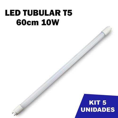 Kit 5 Lâmpada Tubular Led T5 Bivolt 60cm Branco Frio 6000k 10w