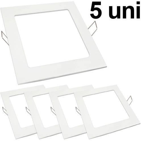 Kit 5 Luminária Plafon Led 18w Embutir Quadrado Branco Frio