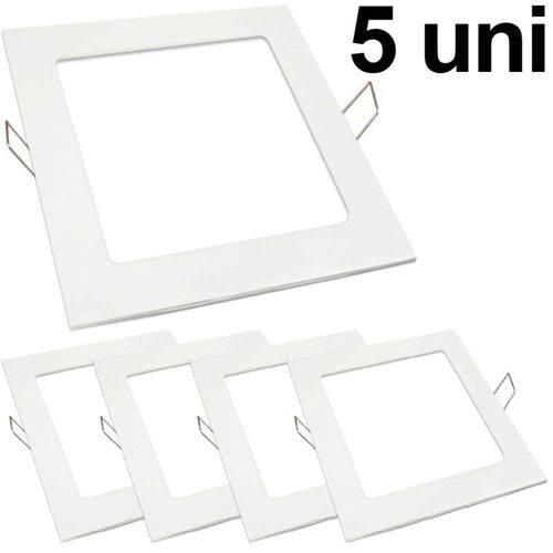 Kit 5 Luminária Plafon Led 25w Embutir Quadrado Branco Frio