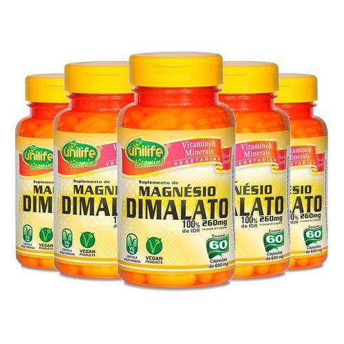 Kit 5 Magnésio Dimalato Unilife - 60 Cápsulas 700mg