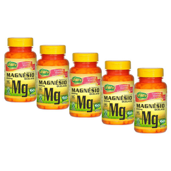 Kit 5 Magnésio Quelato Unilife 60 Cápsulas