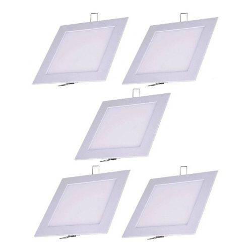 Kit 5 Painel Plafon 6w Luminaria Led Embutir Quadrado Spot