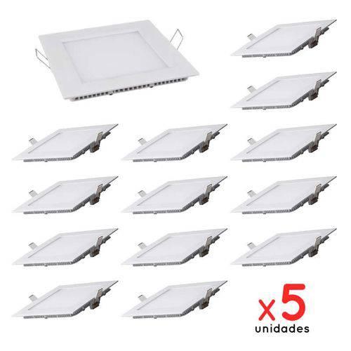 Kit 5 Painel Plafon Led Embutir Quadrado 12w Luminária - Branco Quente