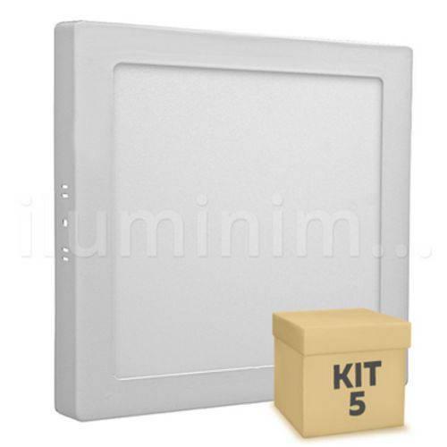 Kit 5 Painel Plafon Quadrado Luminaria Sobrepor Led 18w Bivolt