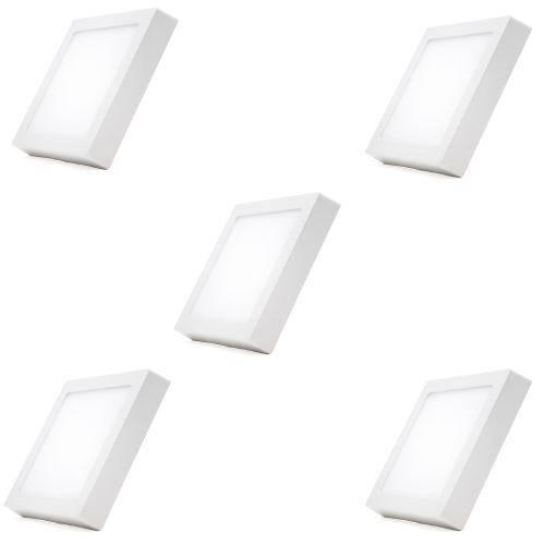 Kit 5 Painel Plafon Quadrado Luminária Sobrepor Led 12w