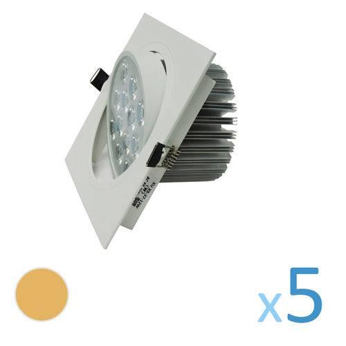 Kit 5 Spot Quadrado 12w Led Bivolt - Branco Quente