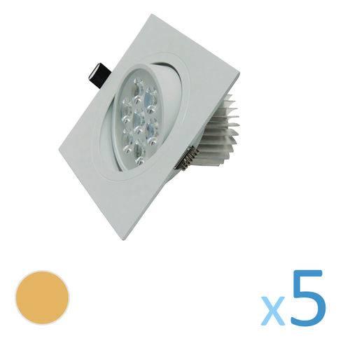 Kit 5 Spot Quadrado 7w Led Bivolt - Branco Quente