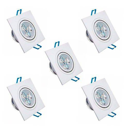 Kit 5 Spot Quadrado Led 5w Lampada Direcionavel Gesso Sanca
