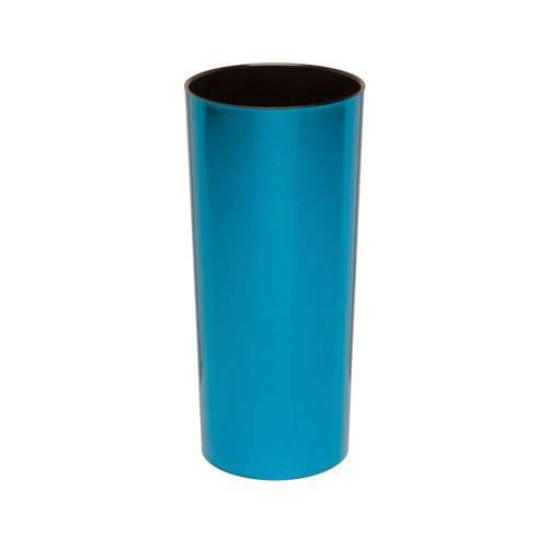 KIT 50 Copos Long Drink Metalizado Azul com Interior Preto
