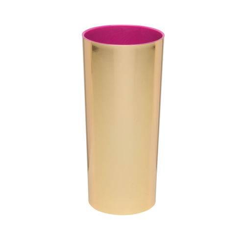KIT 25 Copos Long Drink Metalizado Dourado com Interior Rosa