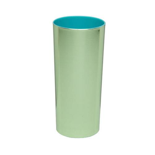 KIT 25 Copos Long Drink Metalizado Verde com Azul Tiffany