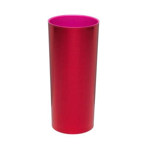 KIT 50 Copos Long Drink Metalizado Vermelho com Pink
