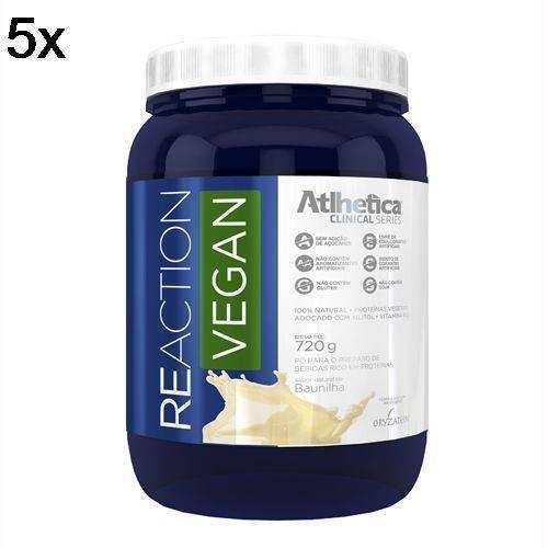 Kit 5X Reaction Vegan - 720g Baunilha - Atlhetica Nutrition