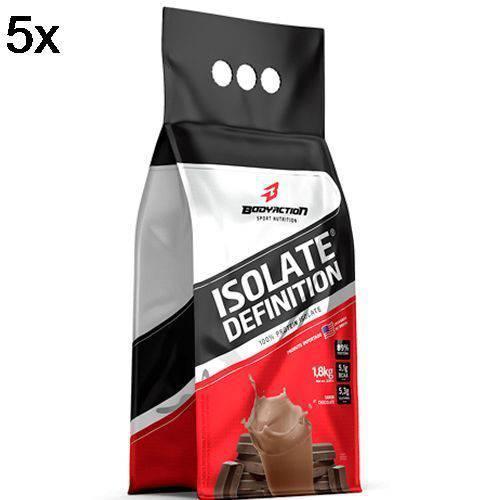 Kit 5X Whey Isolate Definition - 1800g Refil Chocolate - BodyAction