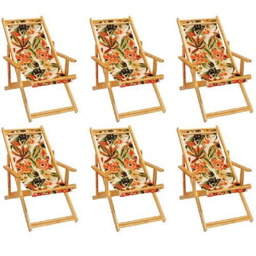 Kit 6 Cadeira Espreguiçadeira Preguiçosa Dobravel Madeira Maciça - Floral Tucano