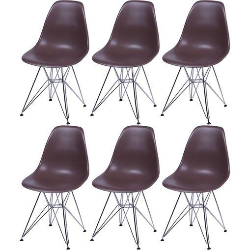 Kit 6 Cadeiras Eames Eiffel Café PP OR Design 1102
