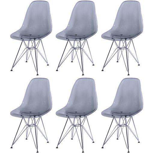 Kit 6 Cadeiras Eames Eiffel Fume PC OR Design 1101