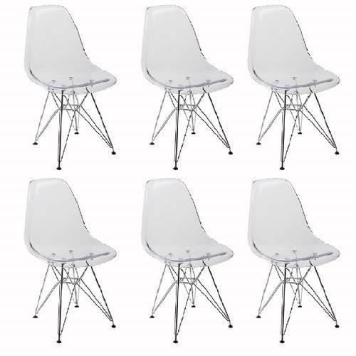 Kit 6 Cadeiras Eames Eiffel Transparente Pc Or Design 1101