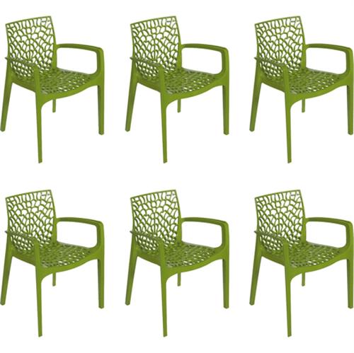 Kit 6 Cadeiras Gruvyer com Braços Verde OR Design