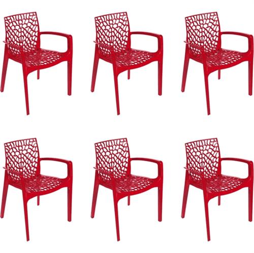 Kit 6 Cadeiras Gruvyer com Braços Vermelha OR Design