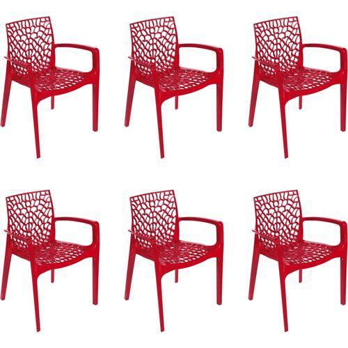 Kit 6 Cadeiras OR Design Gruvyer com Braços Vermelha