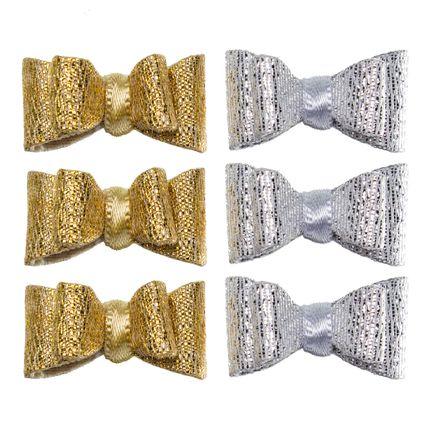 Kit: 6 Laços Dourado/Prata - Roana