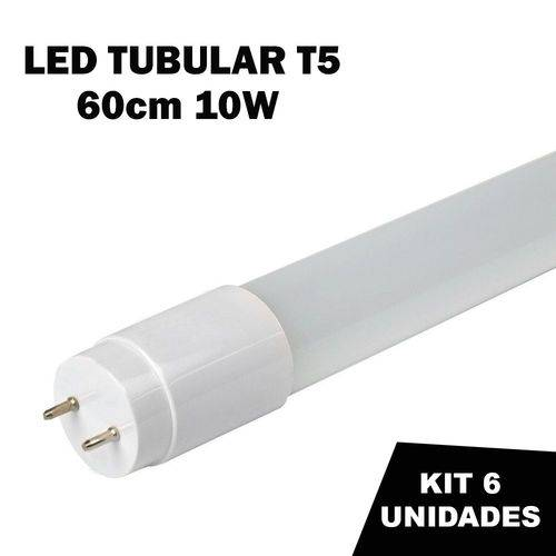 Kit 6 Lâmpada Tubular Led T5 Bivolt 60cm Branco Frio 6000k 10w