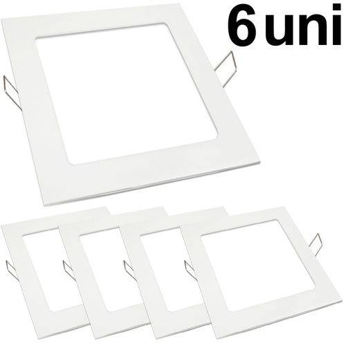 KIT 6 Luminária Plafon Led 18w Embutir Quadrado Branco Frio