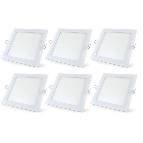 Kit 6 Painel Plafon 18w Luminaria Led Quadrado Embutir Slim