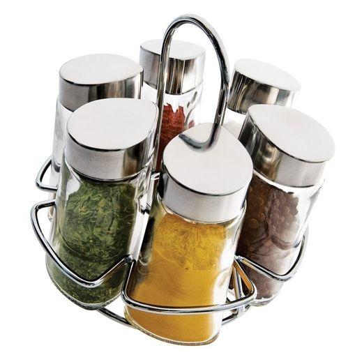 Kit 6 Porta-Condimentos em Vidro + Suporte Hexa Euro