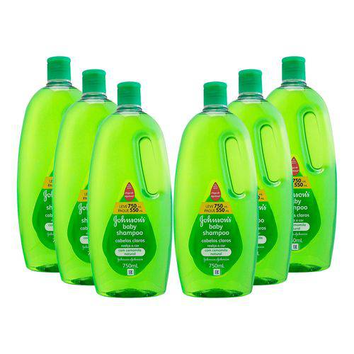KIT 6 Shampoos Johnson's Baby Cabelos Claros 750ml